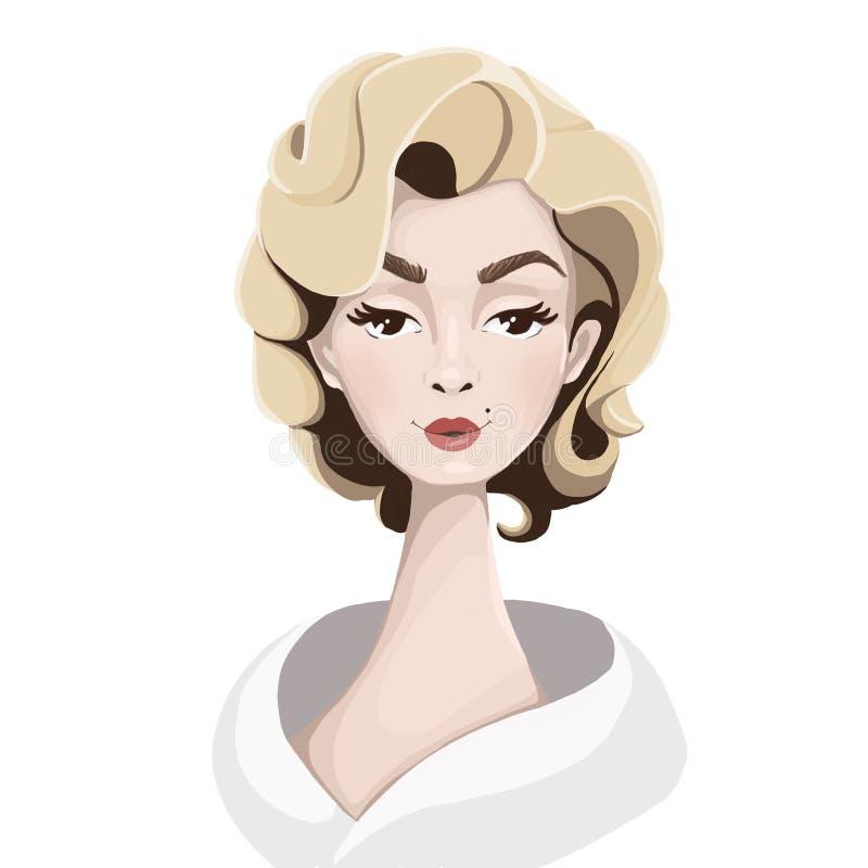 Illustration av en attraktiv blondin royaltyfri illustrationer