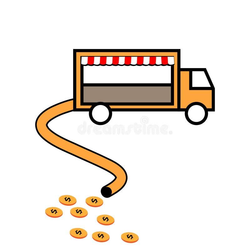 Illustration av en bil som upp suger pengar white f?r vektor f?r bakgrundsillustrationhaj stock illustrationer