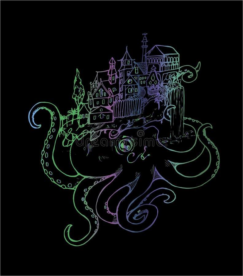 Illustration av en bl?ckfisk med en gammal stad Neonteckning royaltyfri illustrationer
