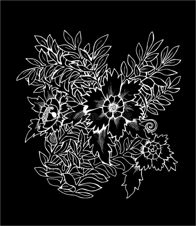 Illustration av en bukett av blommor Svartvit bukett Krita p? en blackboard vektor illustrationer