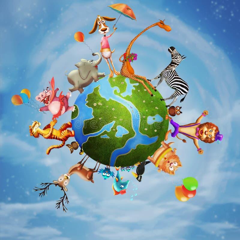 Illustration av en djur planet stock illustrationer