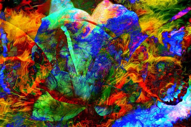 Illustration av en färgfjäril med blomman, blandat medel, abstrakt färgbakgrund royaltyfri illustrationer