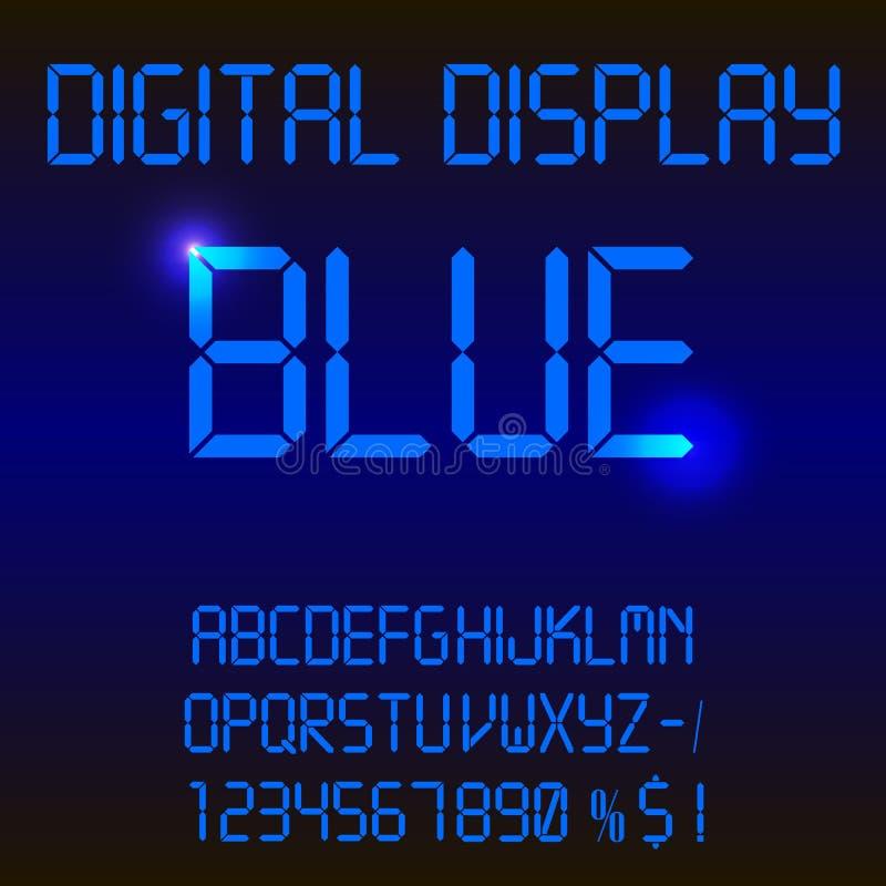 Illustration av en färgrik blå digital ledd stilsort arkivbild
