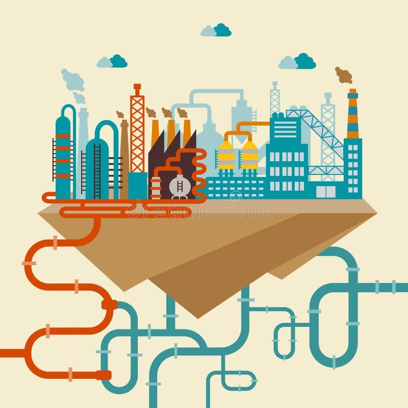 Illustration av en fabrik eller en raffinaderi vektor illustrationer
