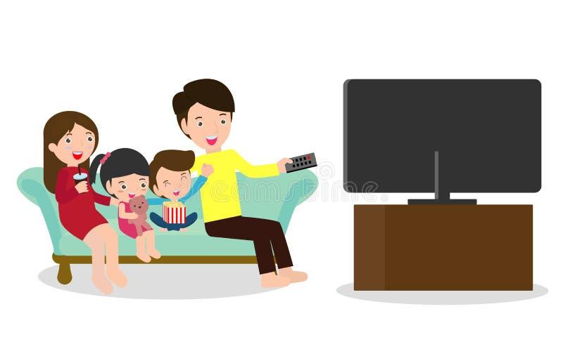Illustration av en familj som tillsammans håller ögonen på en TV-program, hållande ögonen på television för lycklig familj som he stock illustrationer