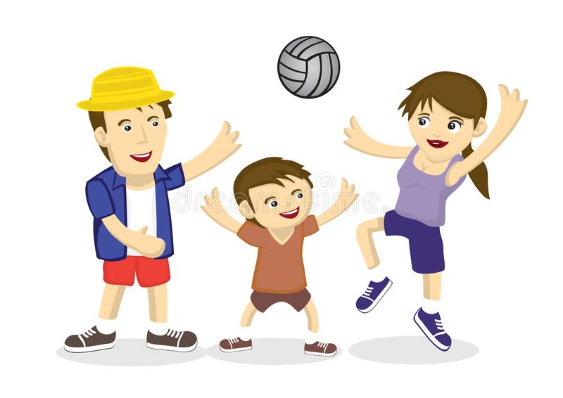 Illustration av en familj av spela volleyboll tre royaltyfri illustrationer