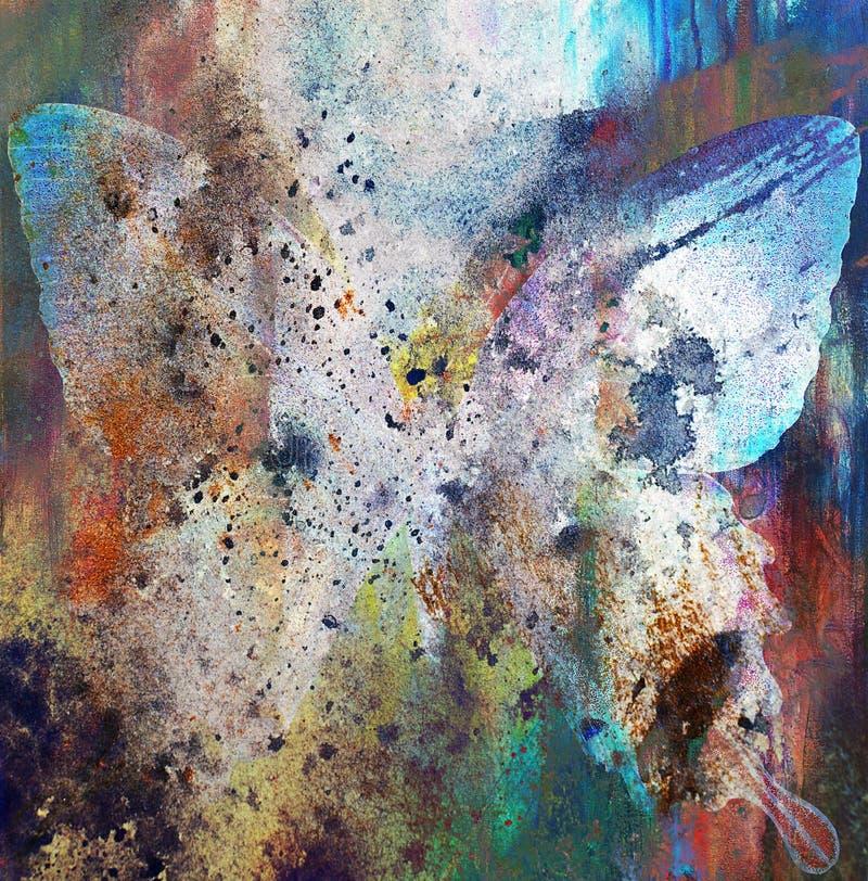 Illustration av en fjäril, blandat medel, färgbakgrund stock illustrationer