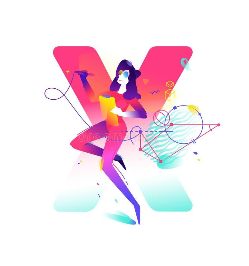 Illustration av en flicka Bokstav X på bakgrunden Plan lutningillustration för vektor Bild för banret av websiten och vektor illustrationer