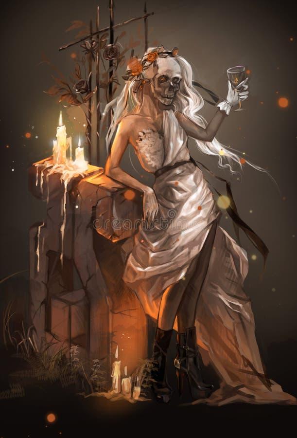 Illustration av en flicka i en bruds klänning på graven royaltyfri illustrationer