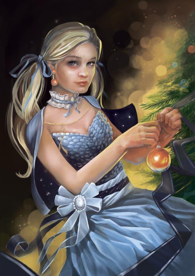 Illustration av en flicka i en klänning som dekorerar en julgran stock illustrationer