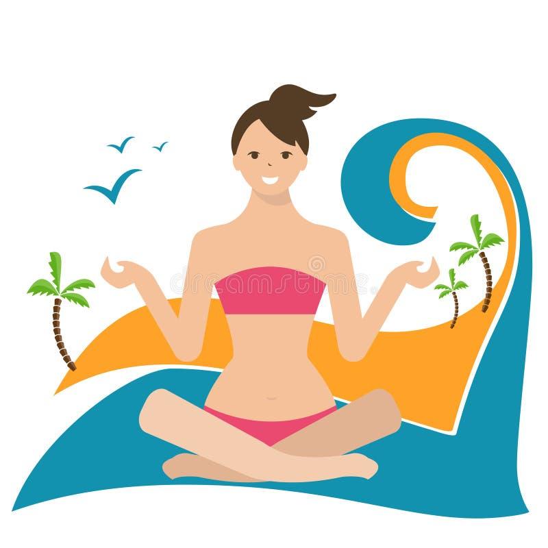 illustration av en flicka i lotusblommaposition som sitter på royaltyfri illustrationer
