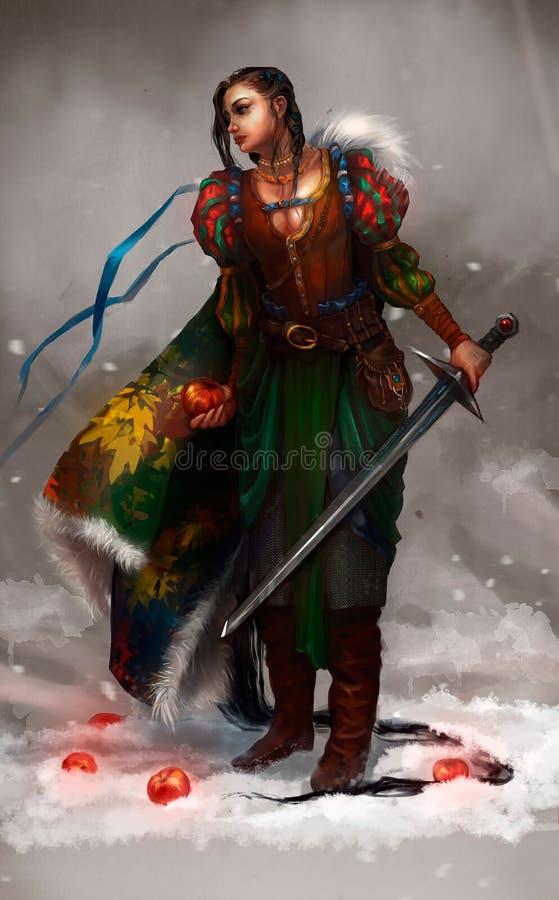Illustration av en flicka med ett sv?rd royaltyfri illustrationer