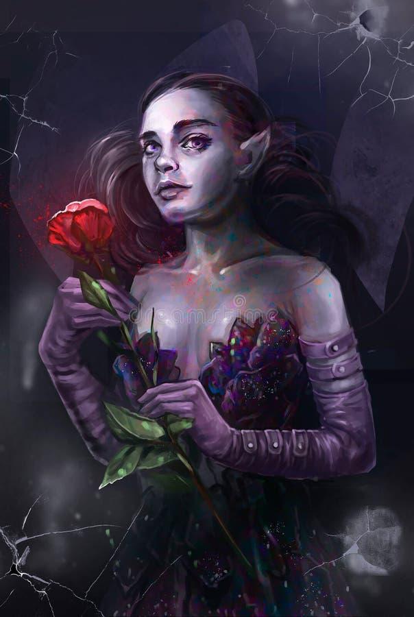 Illustration av en flicka med en röd ros vektor illustrationer