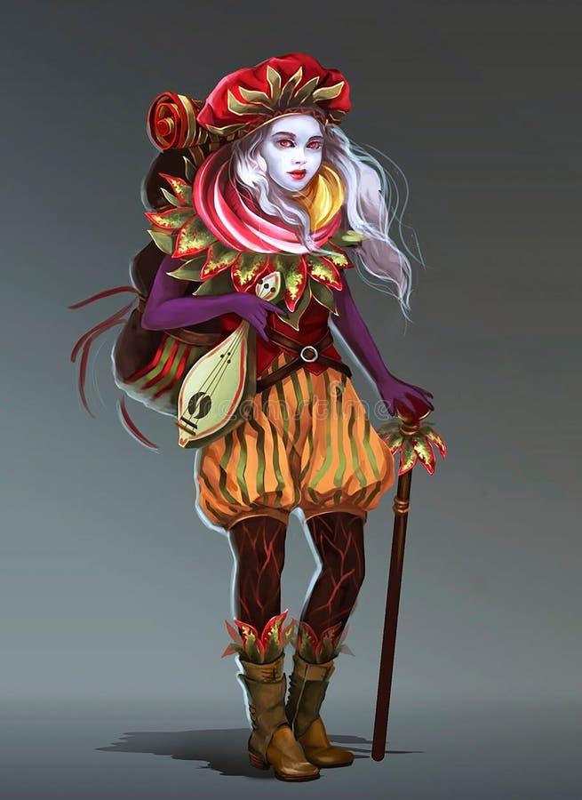 Illustration av en flicka med en ryggs?ck stock illustrationer