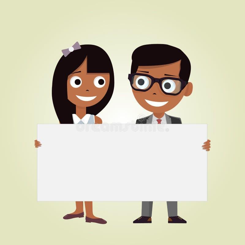 Illustration av en flicka och en pojke som rymmer ett tomt baner på en vit bakgrund Ungar och utrymmeram stock illustrationer