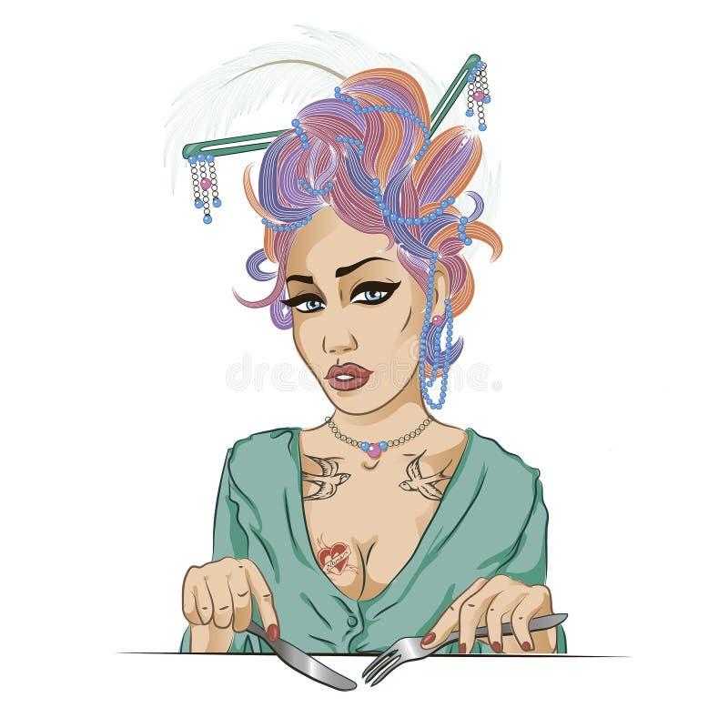 Illustration av en flicka som äter hennes lunch på en vit bakgrund I royaltyfri illustrationer