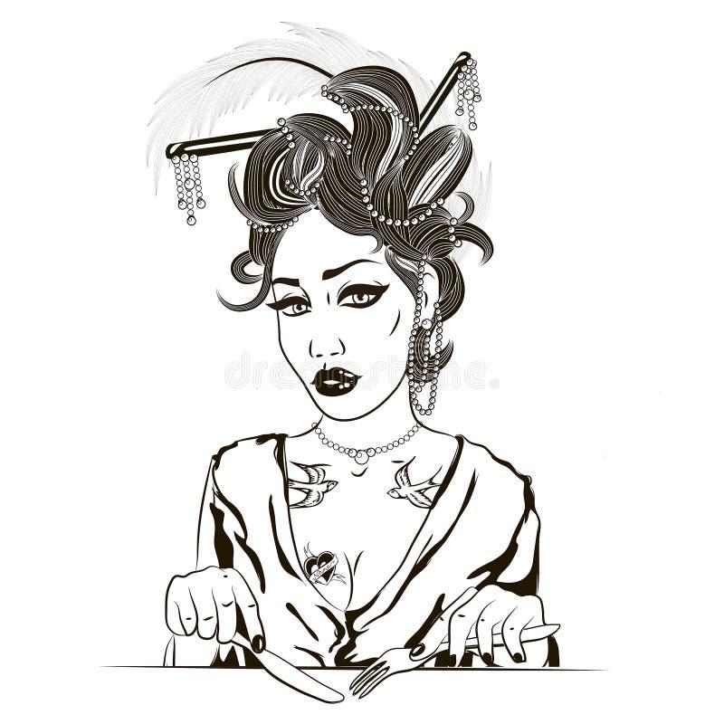 Illustration av en flicka som äter hennes lunch på en vit bakgrund I stock illustrationer