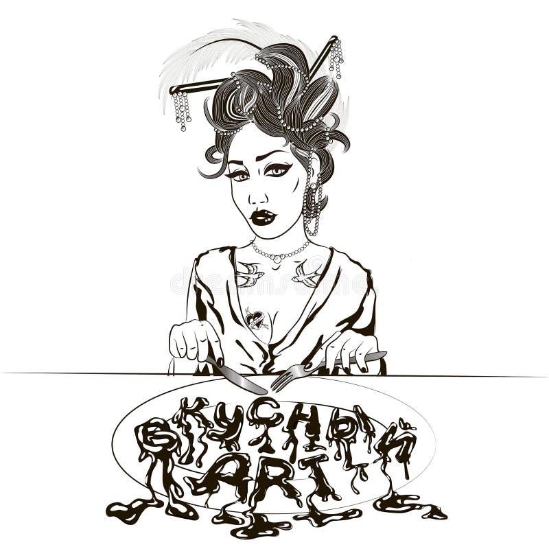 Illustration av en flicka som äter hennes lunch på en vit bakgrund I vektor illustrationer