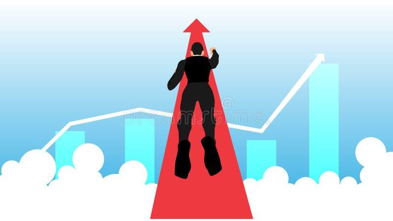 Illustration av en flyga affärsman som går mot framgång vektor illustrationer