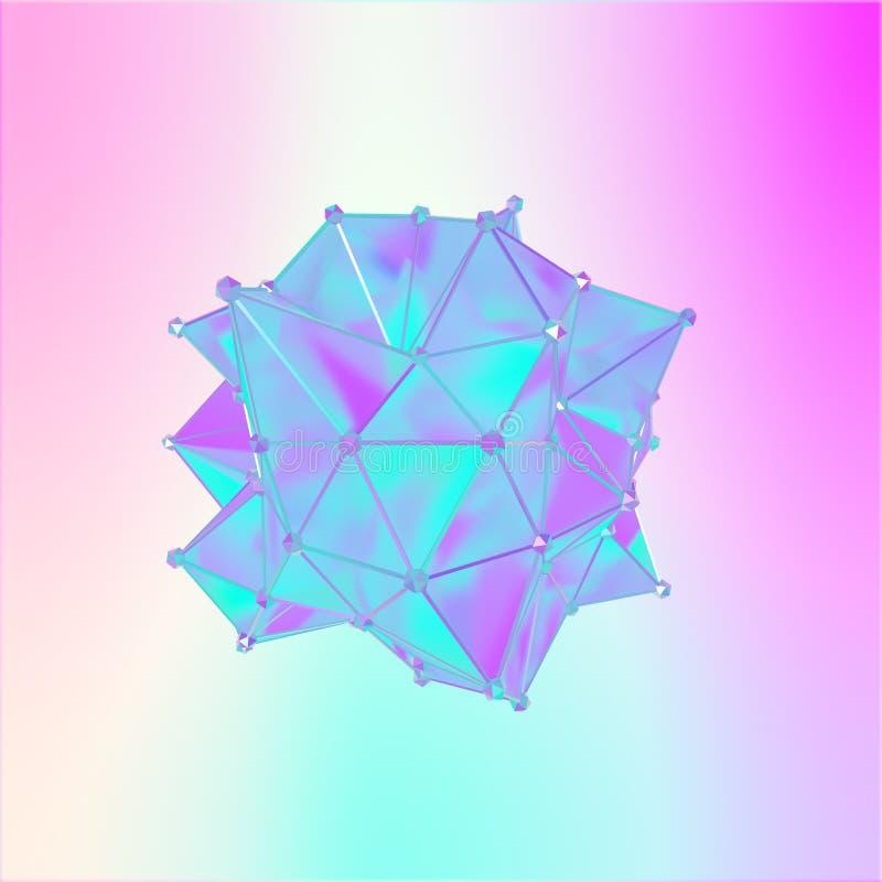 Illustration av en formmetamorfos av en polygonal halv genomskinlig modell Flerfärgad illustration 3D av ett polygonal royaltyfri illustrationer