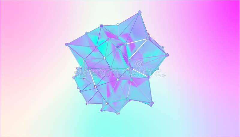 Illustration av en formmetamorfos av en polygonal halv genomskinlig modell Flerfärgad illustration 3D av ett polygonal vektor illustrationer