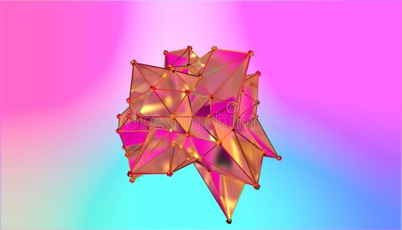 Illustration av en formmetamorfos av en polygonal halv genomskinlig modell Flerfärgad polygonal fläck 3D stock illustrationer