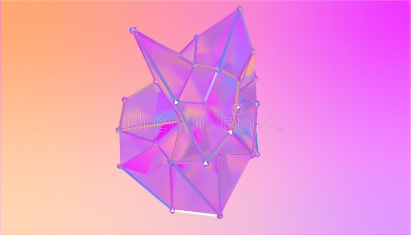 Illustration av en formmetamorfos av en polygonal halv genomskinlig modell Flerfärgad polygonal fläck 3D framförande 3d royaltyfri illustrationer