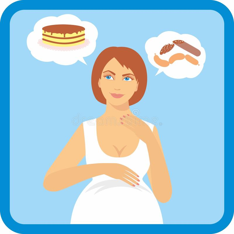 Illustration av en gravid kvinna med en ökande aptit Tecken av havandeskap stock illustrationer