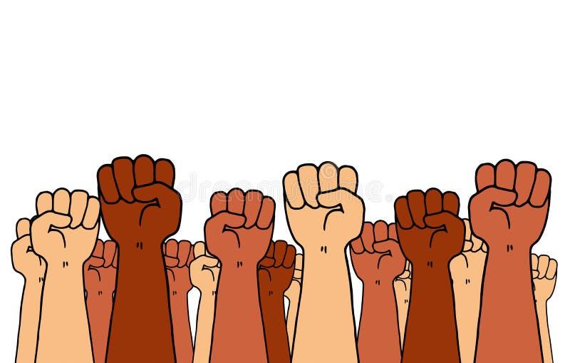Illustration av en grupp av armar med nävar som högt rymms som ett symbol av social ansträngning och motstånd royaltyfri illustrationer