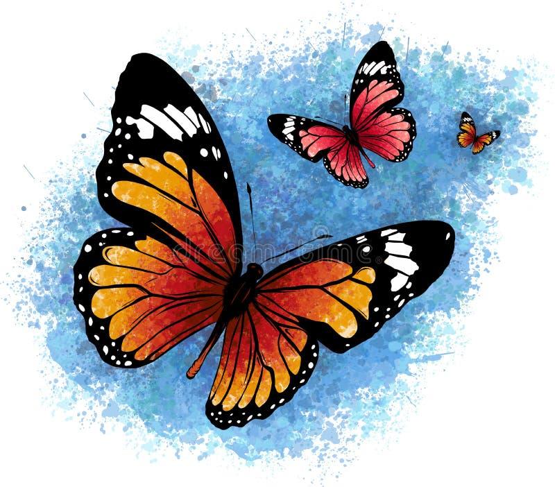 Illustration av en härlig färgrik fjäril som flyger royaltyfri bild