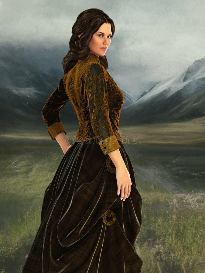 Illustration av en härlig kvinna i viktorianska kläder vektor illustrationer