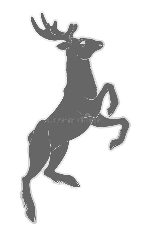 Illustration av en hjort med horn Natur och djur Klyva-traskat vektor illustrationer