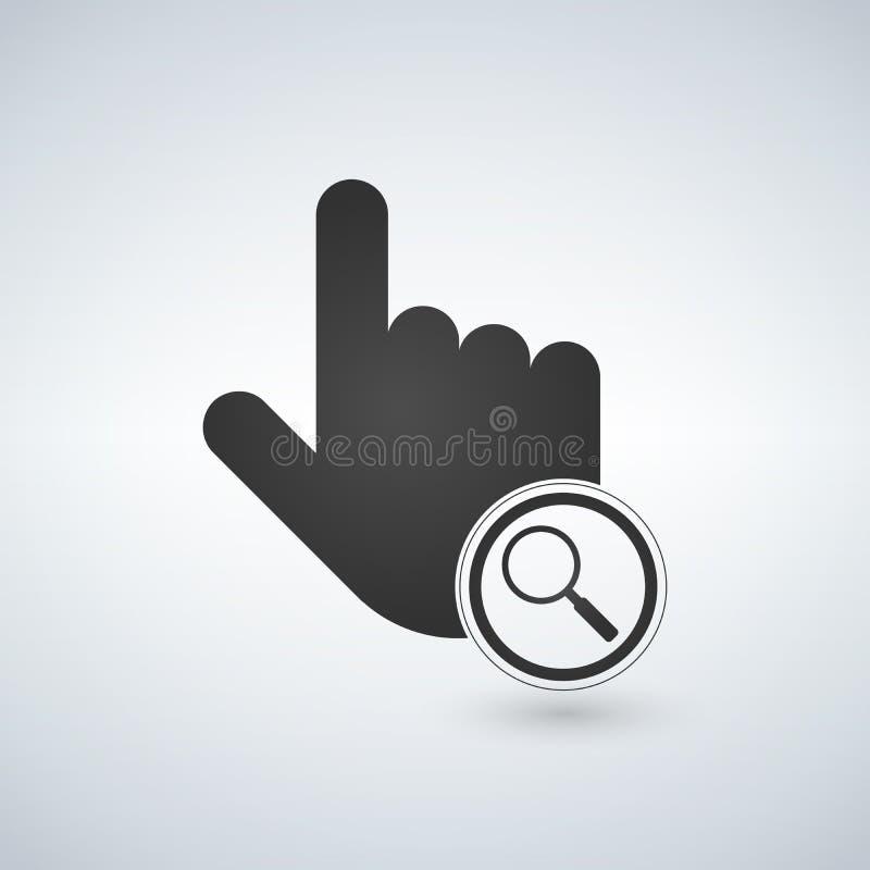Illustration av en isolerad peka handmusmarkör med en förstoringsapparat, illustration stock illustrationer
