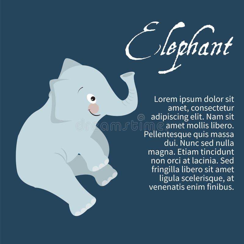 Illustration av en isolerad teckenelefant stock illustrationer