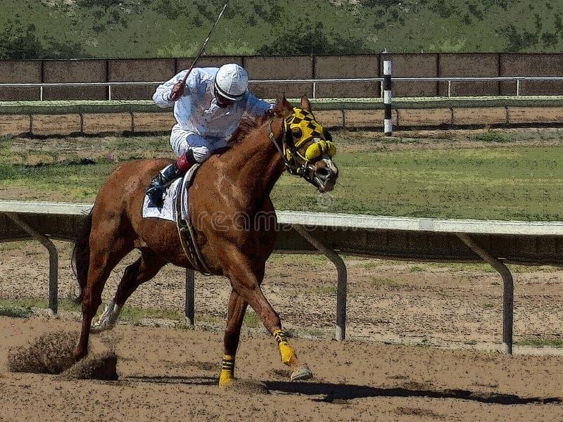 Illustration av en jockey som rider en snabbt växande fullblods- lopphäst fotografering för bildbyråer