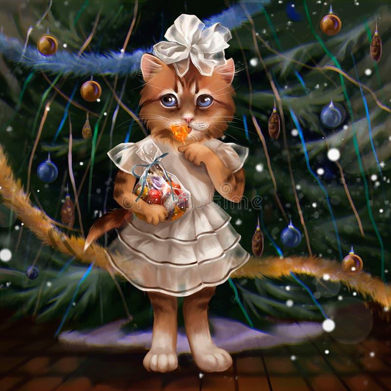 Illustration av en katt på julgranen vektor illustrationer