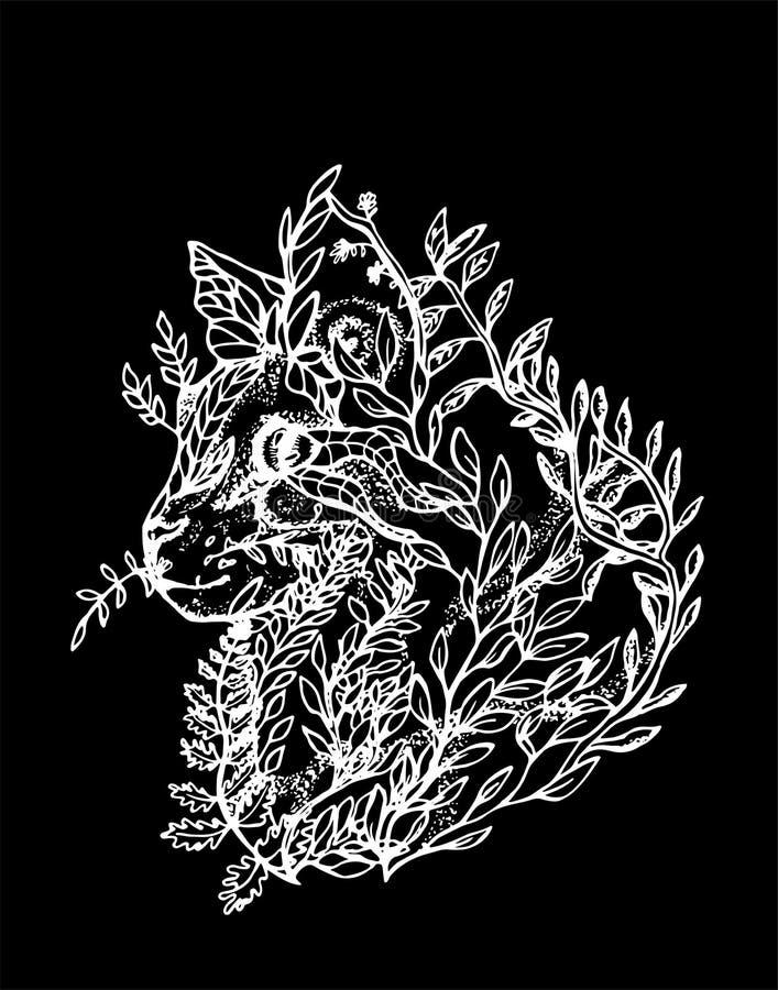 Illustration av en katt som g?ras av filialer och sidor Svartvit teckning av en katt i profil Krita p? en blackboard royaltyfri illustrationer