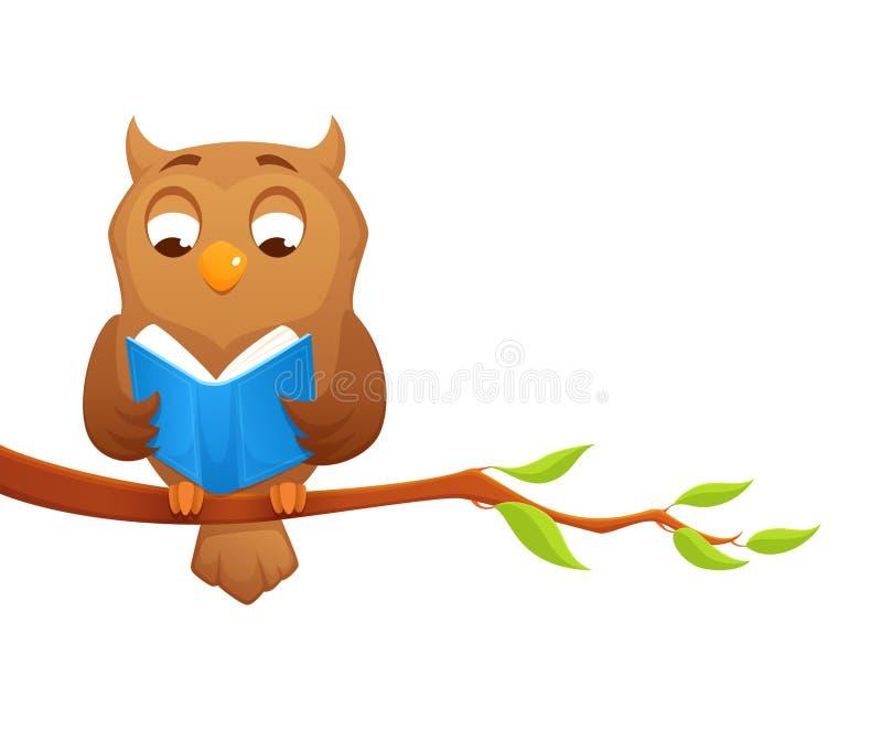 Illustration av en klok owlläsning en boka vektor illustrationer