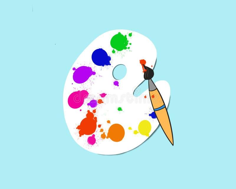 Illustration av en konstpalett med målarfärger och borstar som isoleras på en blå bakgrund stock illustrationer