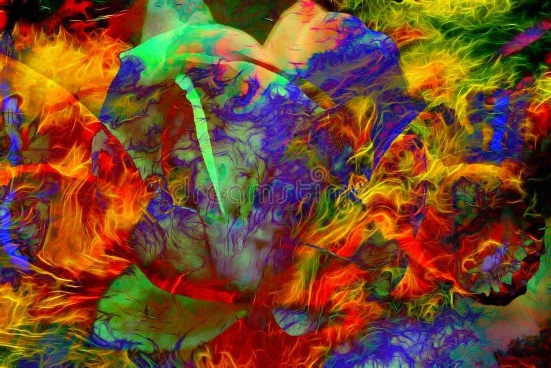 Illustration av en kulör fjäril med blomman, blandat massmedia, abstrakt färgbakgrund stock illustrationer