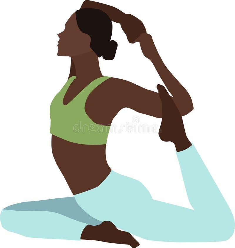 Illustration av en kvinna, övande yoga vektor illustrationer