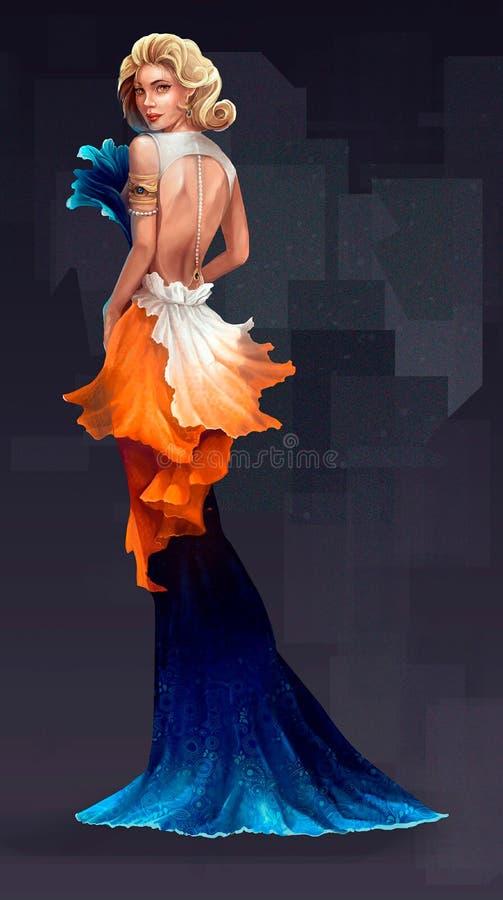 Illustration av en kvinna från högt samhälle vektor illustrationer