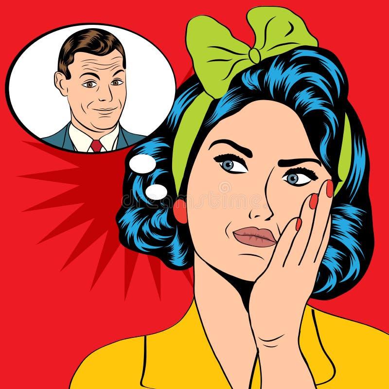 Illustration av en kvinna, som tänker en man i en stil för popkonst, vec vektor illustrationer