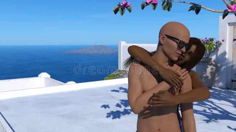 Illustration av en kvinna som talar till en man, medan omfamna honom med havet, öarna och den blåa himlen i bakgrunden stock illustrationer