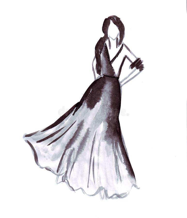 Illustration av en kvinnlig zigenare med en fluffig kjol royaltyfri illustrationer