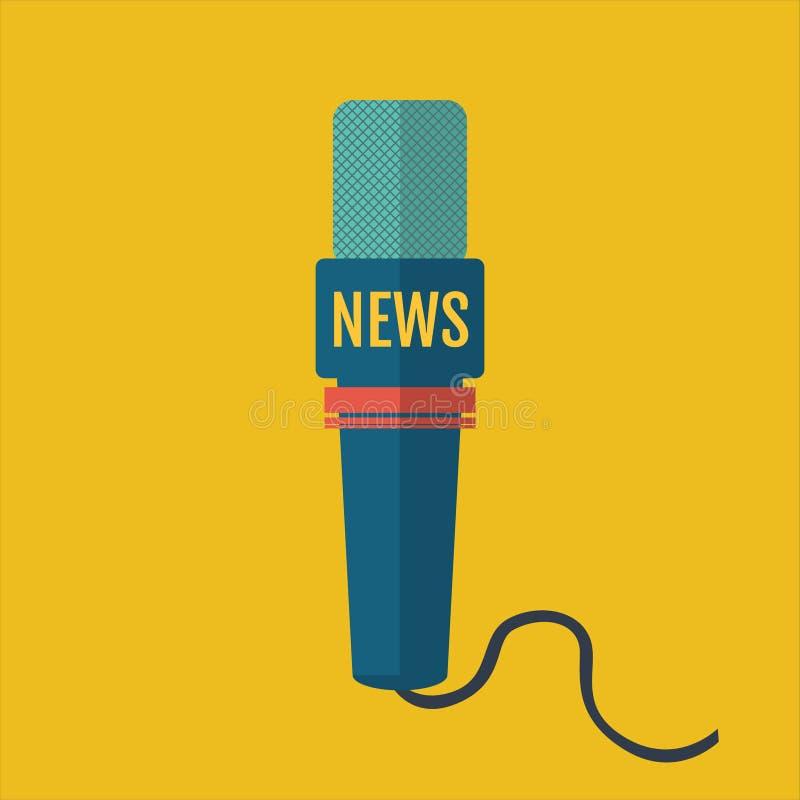 Illustration av en lägenhet eller en nyhetskanal för mikrofonsymbolsjournalist stock illustrationer