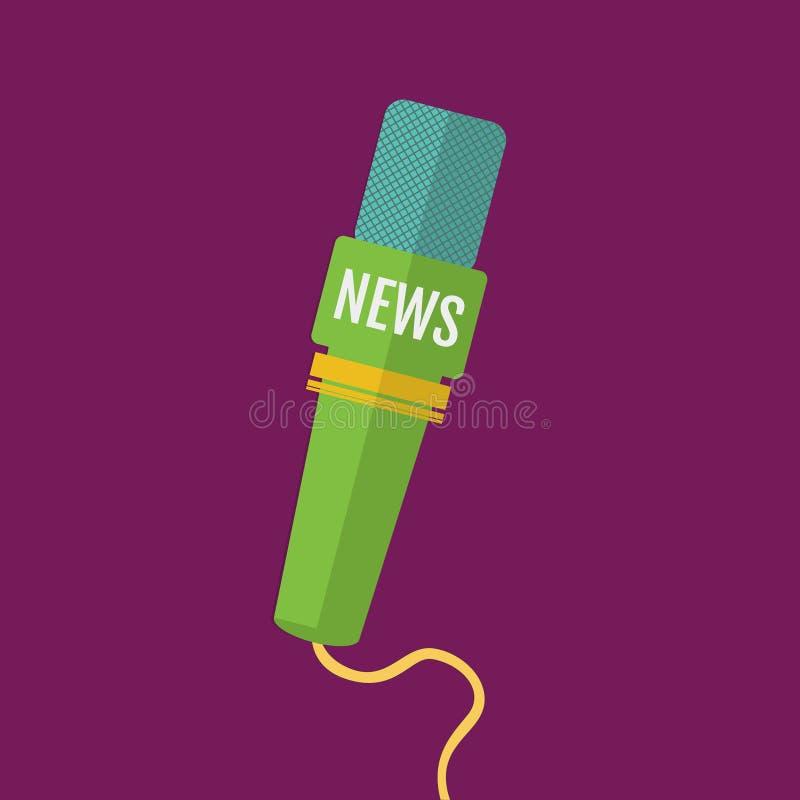 Illustration av en lägenhet eller en nyhetskanal för mikrofonsymbolsjournalist vektor illustrationer