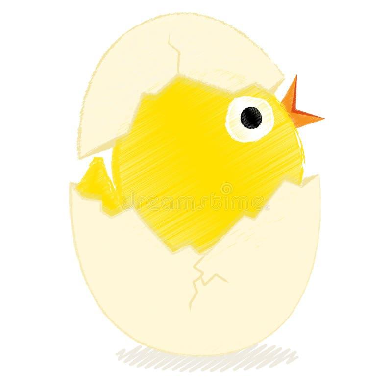 Fågelunge med det brutna ägget stock illustrationer