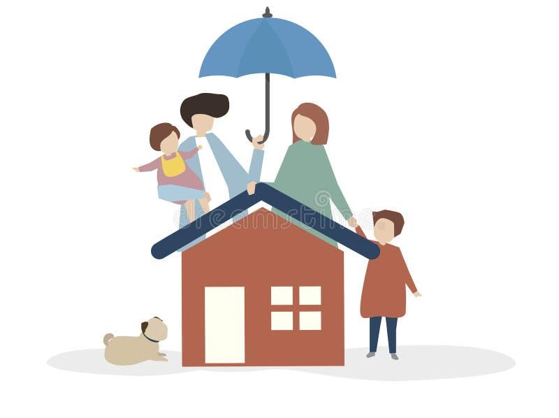 Illustration av en lycklig familj stock illustrationer