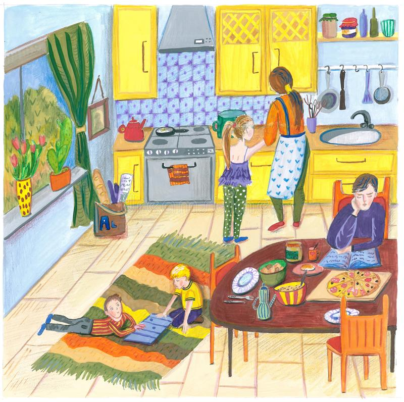 Illustration av en lycklig familj hemma i köket för lunch, matställe eller frukost, moder, fader, barn och hund i a vektor illustrationer